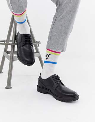Asos Design DESGN lace up shoes with cleated sole and rubber panel details