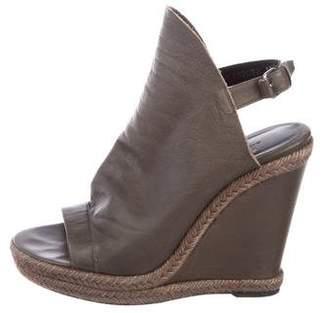 Balenciaga Leather Peep-Toe Wedges