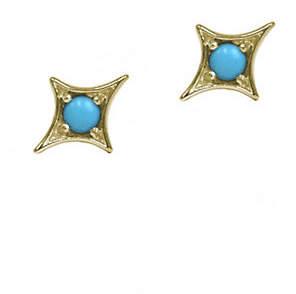 JAC + JO Gothic Diamond 14K Gold and Sleeping Beauty Turquoise Arrow Stud Earrings