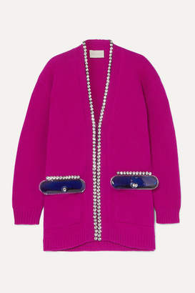 Christopher Kane Oversized Embellished Wool Cardigan - Pink
