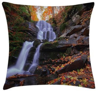 Ambesonne Outdoor Mountain and Waterfall Pillow Cover Ambesonne