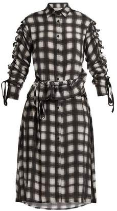 Preen Line Uri Plaid Checked Crepe De Chine Shirtdress - Womens - Black White