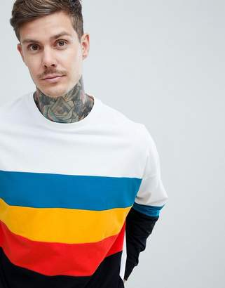 Asos DESIGN oversized longline long sleeve t-shirt with bright color block in white