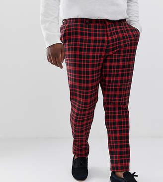 Asos Design DESIGN Plus super skinny suit trousers in red tartan check