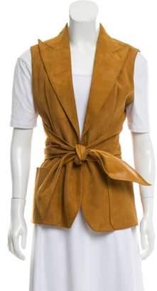Hermà ̈s Tie-Accented Suede Vest brown Hermà ̈s Tie-Accented Suede Vest