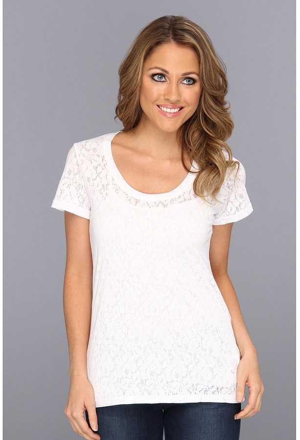Stetson 8663 Floral Lace Burnout S/S Top (White) - Apparel