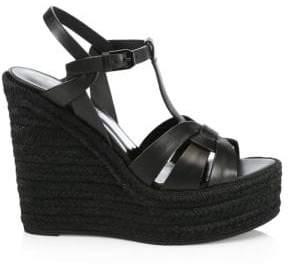 Saint Laurent T-Strap Platform Espadrille Sandals