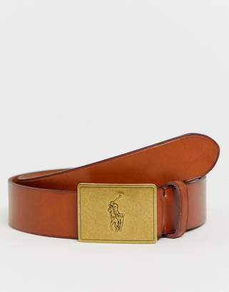 Polo Ralph Lauren leather belt with polo player plaque in tan