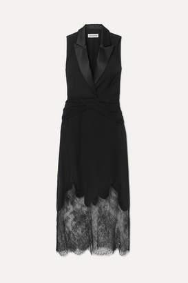 Self-Portrait Lace And Satin-trimmed Crepe Maxi Dress - Black