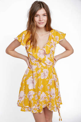 Free People Short Sleeve French Quartered Print Mini Wrap Dress