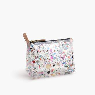 J.Crew Vinyl makeup pouch with oversize glitter