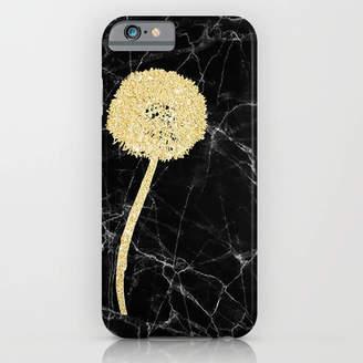 Indira Albert Golden Dandelion On Black Marble Phone Case