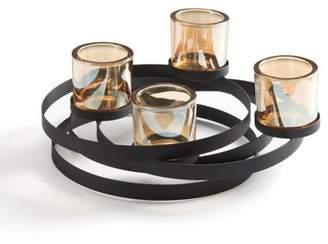 Danya B. Circles Metal Candleholder with Iridescent Glass Cups