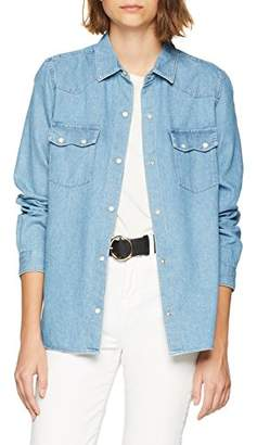 French Connection Women's Avery Denim Western Shirt Blouse,(Size:--)