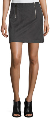 Kensie Two-Zip Faux-Suede A-Line Mini Skirt $49 thestylecure.com