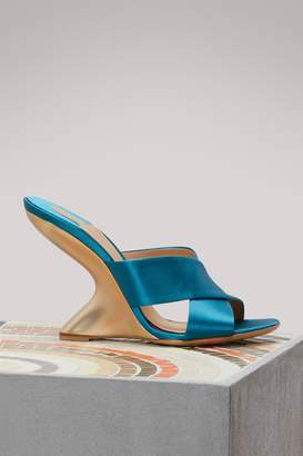 Salvatore Ferragamo Alcamo satin wedge mules