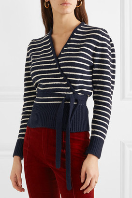 ALEXACHUNG Striped Brushed Cotton-blend Cardigan - Navy