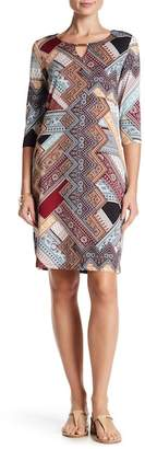 Nina Leonard Pattern Front Keyhole Dress