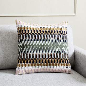west elm Embroidered Ikat Reflection Pillow Cover