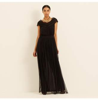 Amanda Wakeley Black Silk Tulle Lace Maxi Dress