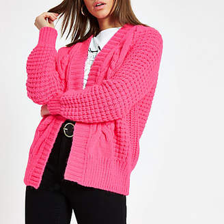 River Island Bright pink cable knit cardigan