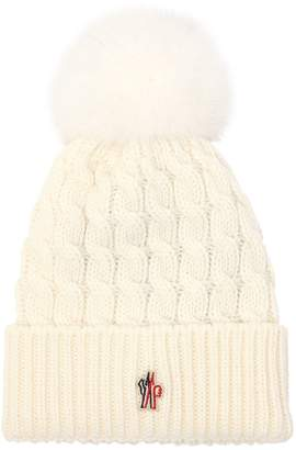 Moncler Wool Knit Beanie With Fur Pompom