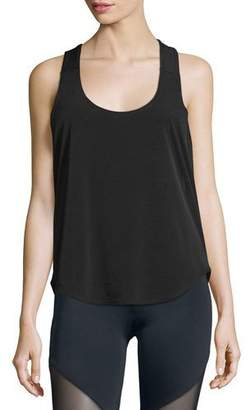 Onzie Elastic-Back Sleeveless Sport Tank, Black/White $46 thestylecure.com