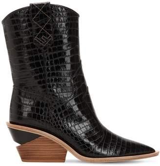 Fendi 60mm Embossed Croc Cowboy Boots