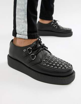 T.U.K. faux leather platform creepers with stud detail