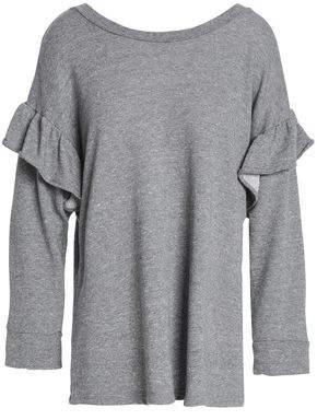 Current/Elliott Ruffle-Trimmed Mélange French Cotton-Blend Terry Sweatshirt