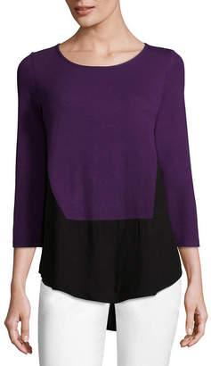 Liz Claiborne 3/4 Sleeve Boat Neck T-Shirt-Womens