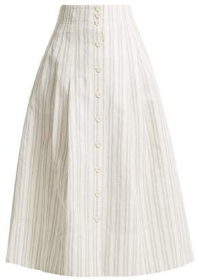 Rebecca Taylor Striped Cotton And Linen Blend Skirt - Womens - White Stripe