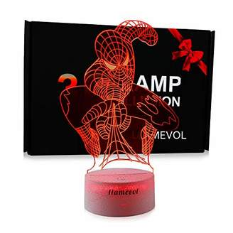 Spiderman Night Light for Kids Birthday Gift 3D Illusion Lamp Optical Led Desk Gifts for Boys Men Home Decor Office Bedroom Party Decorations Web Shooter Nursery Lighting 7 Color Change