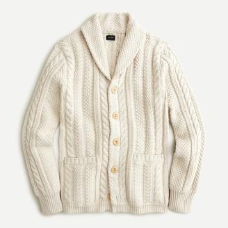 J.Crew Shawl-collar cotton cable-knit cardigan