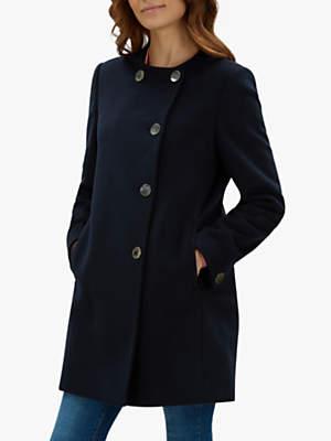 Collarless Gunmetal Button Wool Coat, Navy