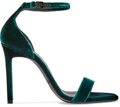 Saint Laurent - Amber Velvet Sandals - Green