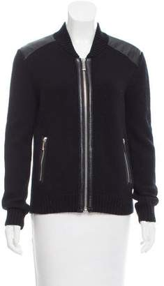Barbara Bui Leather Trimmed Wool Cardigan