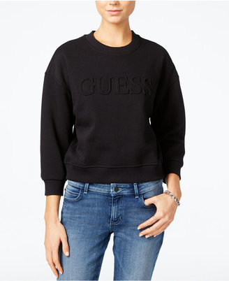 GUESS Originals Cropped Logo Sweatshirt $79 thestylecure.com