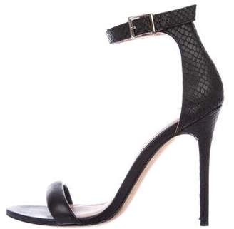 Halston Leather Ankle-Strap Sandals