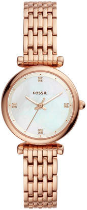 Fossil Women Carlie Rose Gold-Tone Stainless Steel Bracelet Watch 29mm