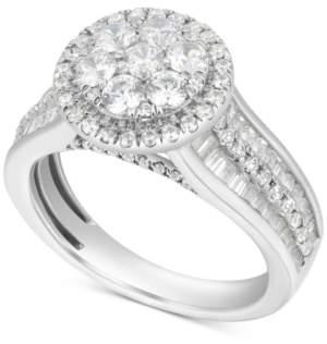 Macy's Diamond Halo Cluster Enhancer Bridal Set (2 ct. t.w.) in 14k White Gold