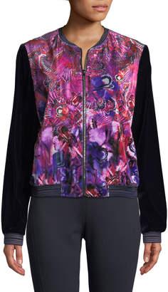 T Tahari Fatima Velvet Bomber Jacket