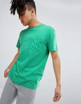 Weekday anton washed pocket t-shirt green