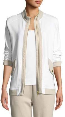 Joan Vass Contrast-Trim Zip-Front Pique Jacket