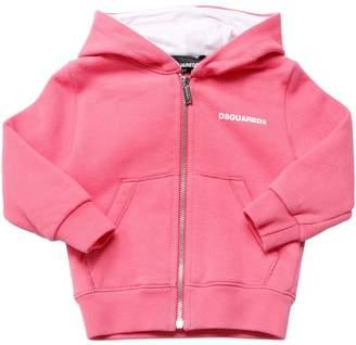 DSQUARED2 Zip-Up Cotton Sweatshirt Hoodie