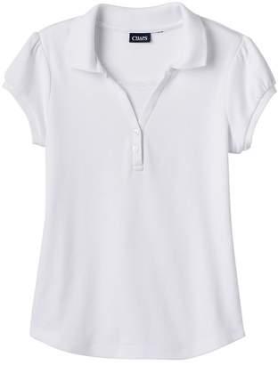 Chaps Girls 7-16 School Uniform Short-Sleeved Y-Neck Top