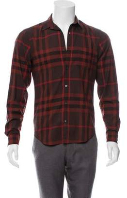 Burberry Exploded Check Button-Up Shirt red Exploded Check Button-Up Shirt