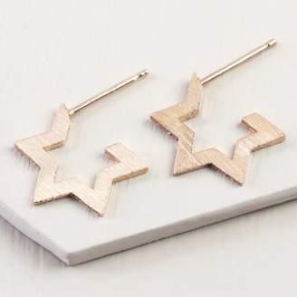 c0d09f402 Lisa Angel Brushed Star Hoop Stud Earrings