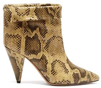 Isabel Marant Lisbo Crocodile Print Leather Ankle Boots - Womens - Cream Multi