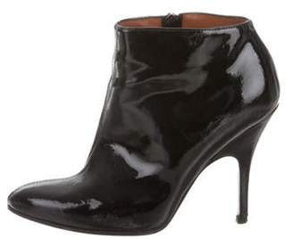 Lanvin Patent Leather Semi Pointed-Toe Booties Black Patent Leather Semi Pointed-Toe Booties